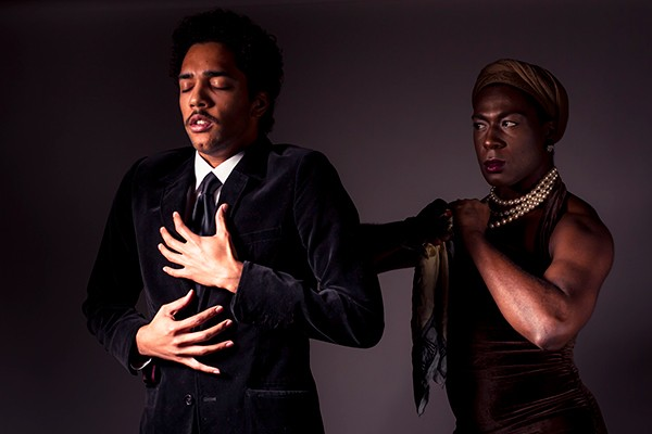 Zach Nichol as Faustus and Darling Squire as Envy - COURTESY STRIDING LION