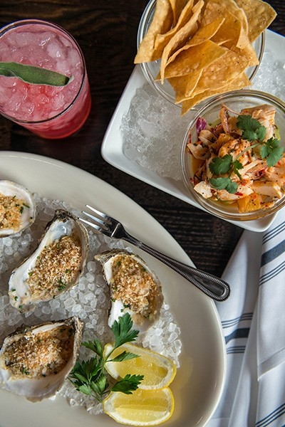 Char-grilled oysters and ceviche