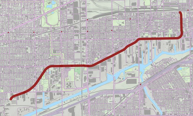A map of the Paseo route connecting Little Village and Pilsen. - STEVEN VANCE