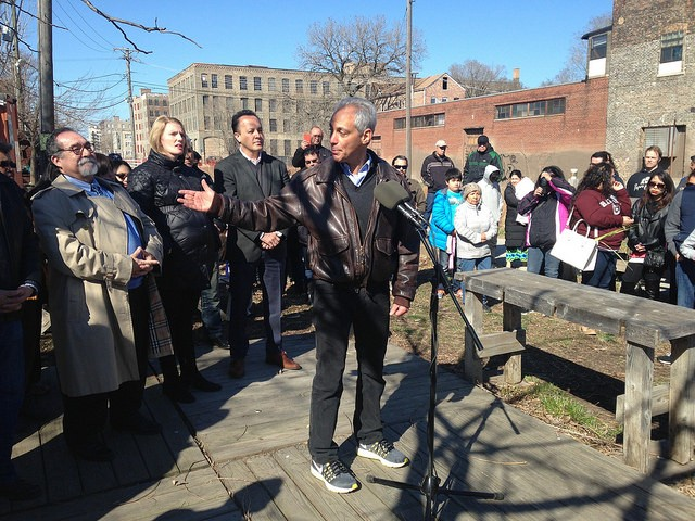 Emanuel announced the Paseo plan at a  groundbreaking ceremony Sunday. - JOHN GREENFIELD