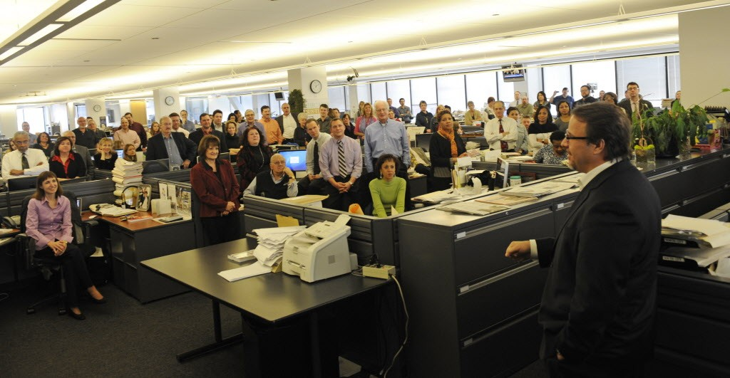 Michael Ferro addresses Sun-Times Media employees in the paper's newsroom in January 2011. - JOHN H. WHITE/SUN-TIMES