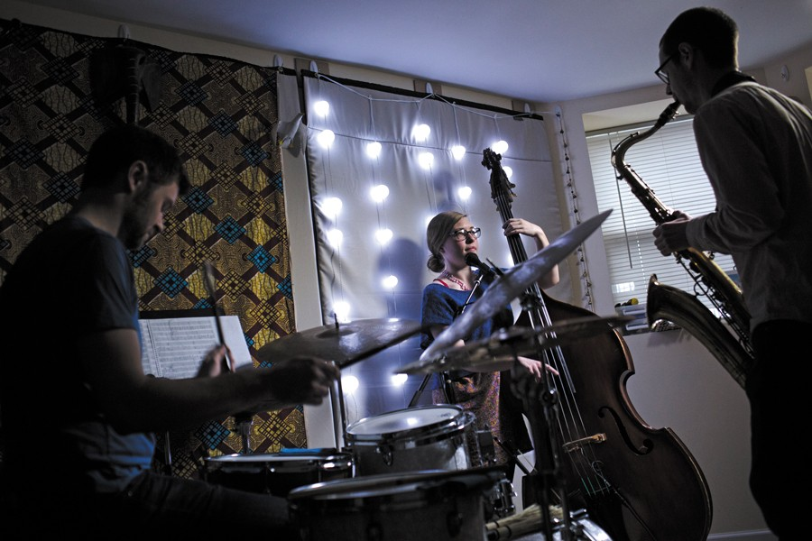 Andrew Green, Katie Ernst, and Dustin Laurenzi, aka Twin Talk, rehearsing at Green's place - JONATHAN GIBBY