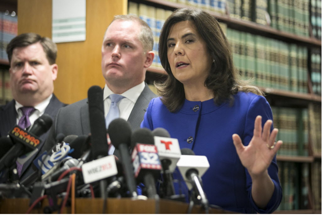 Cook County state's attorney Anita Alvarez describes the dash-cam video of the fatal shooting of 17-year-old Laquan McDonald by police officer Jason Van Dyke. - ASHLEE REZIN/FOR THE SUN-TIMES