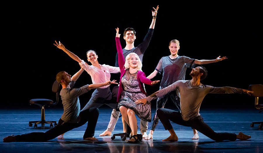 Carisa Barreca, center, with Jesse Bechard, Alice Klock, Michael Gross, Emilie Leriche, and Jonathan Fredrickson in The Art of Falling - TODD ROSENBERG