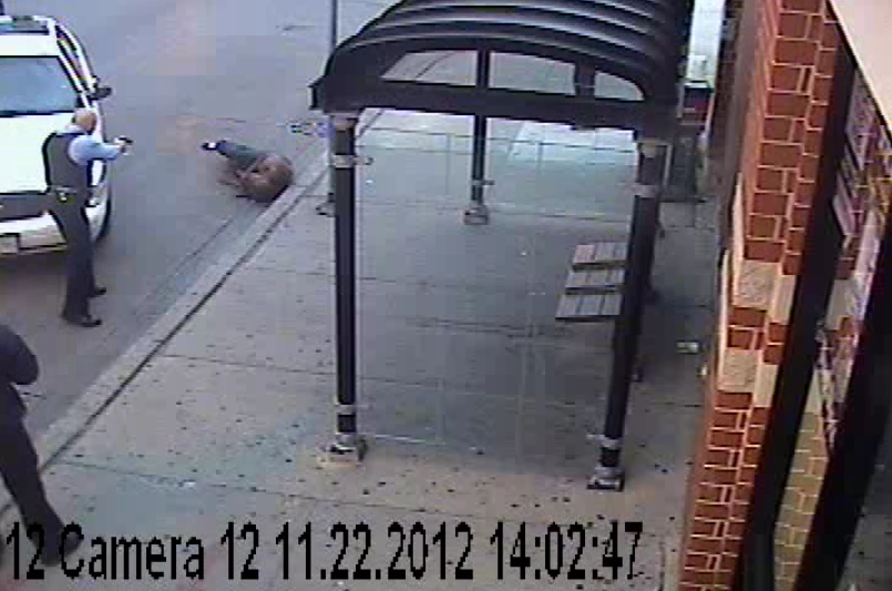 A video the Chicago Independent Police Review Authority made available shows a police officer shooting 28-year-old Ismaaeel Jamison at a bus stop near 63rd and California in November 2012. - IPRA
