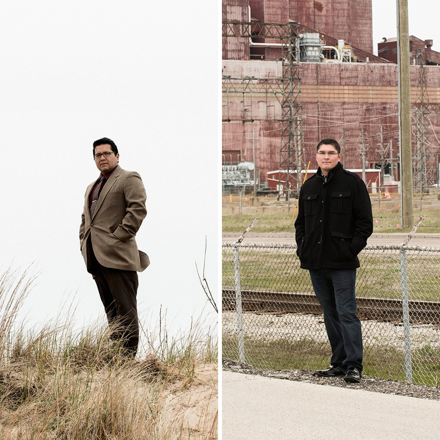 "Waukegan alderman David Villalobos, left, and resident Julio Guzman dream of an alternative energy future for their town. ""How cool would it be if it becomes a green city on the North Shore?"" Guzman says. - RICHARD ANDERSON"