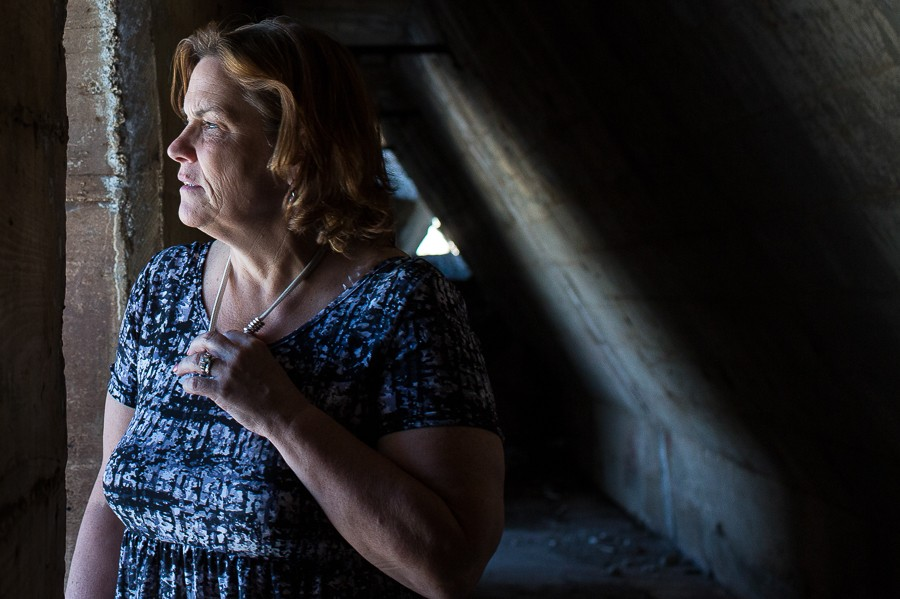 Tenth Ward alderman Sue Sadlowski Garza gazes out from an ore wall on the edge of the former U.S. Steel South Works site. - MICHELLE KANAAR
