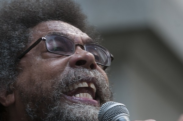 Cornell West addresses the crowd during a rally at City Hall.