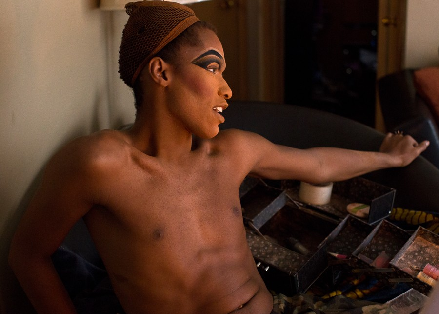 Tony's two-and-a-half-hour transformation begins with layers of eye makeup. - SUNSHINE TUCKER