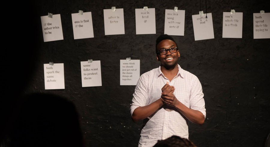 Comedian Martin Morrow performs at Take Action Show. - KELSIE HUFF