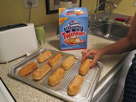 What god never intended: deep-fried Twinkies you can buy at the store. - AP