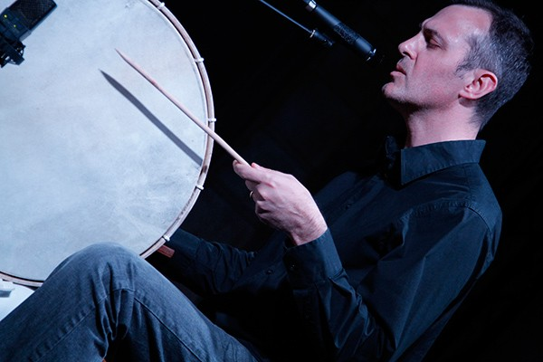 Percussionist Jon Mueller performs at Issue Project Room in New York. - BRADLEY BUEHRING