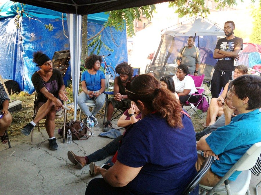 Concerned Citizens of Riot Fest in Douglas Park meet at Freedom Square on August 2. - JOHN GREENFIELD