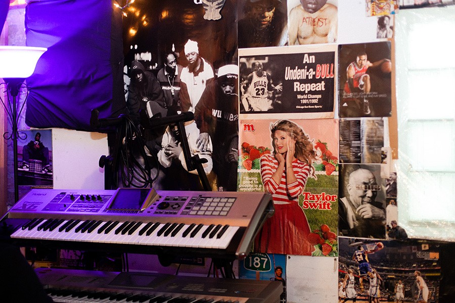 Saba's basement studio at his grandparents' home in Austin, which doubles as an unofficial headquarters for his Pivot Gang crew - DANIELLE A. SCRUGGS