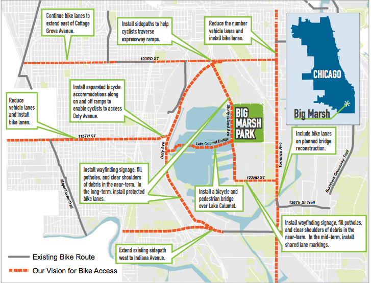 A map of proposed improvements to cycling infrastructure around Big Marsh - ACTIVE TRANSPORTATION ALLIANCE