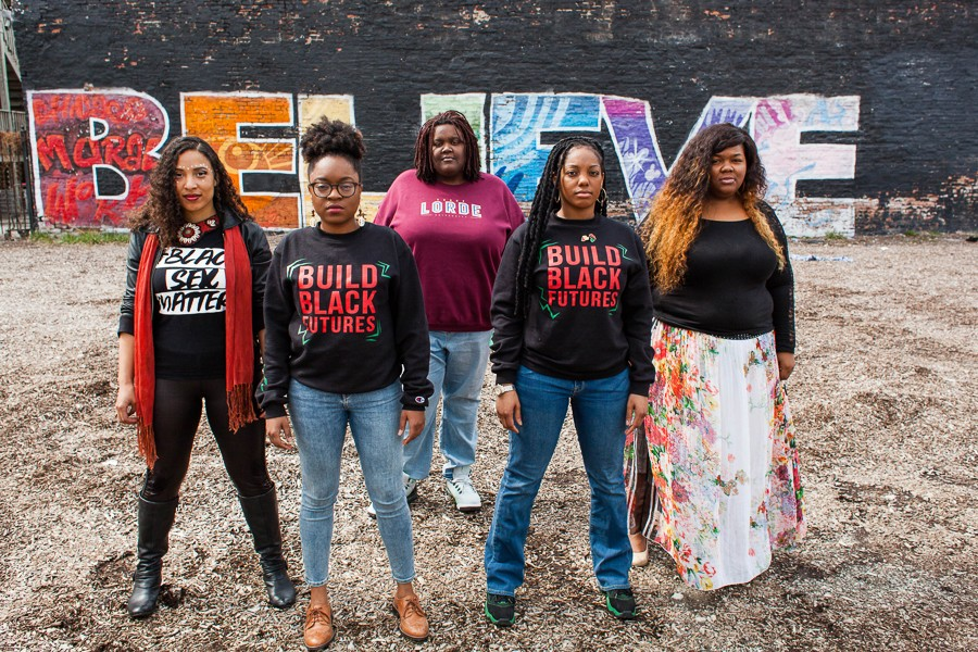 From left: Kristiana Colón, Charlene Carruthers, Rachel Williams, Janaé Bonsu, and Veronica Morris-Moore, five queer black women activists shaping Chicago politics - DANIELLE A. SCRUGGS