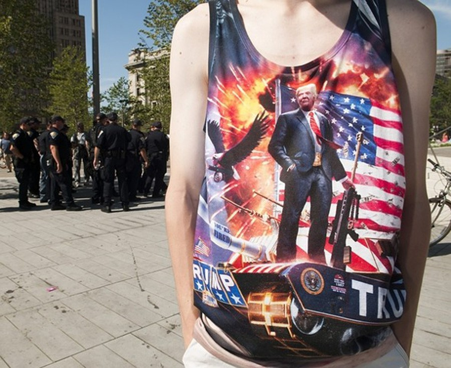 A Trump supporter shows off a rather interesting sartorial choice at the Republican National Convention in Cleveland. - JOEFF DAVIS