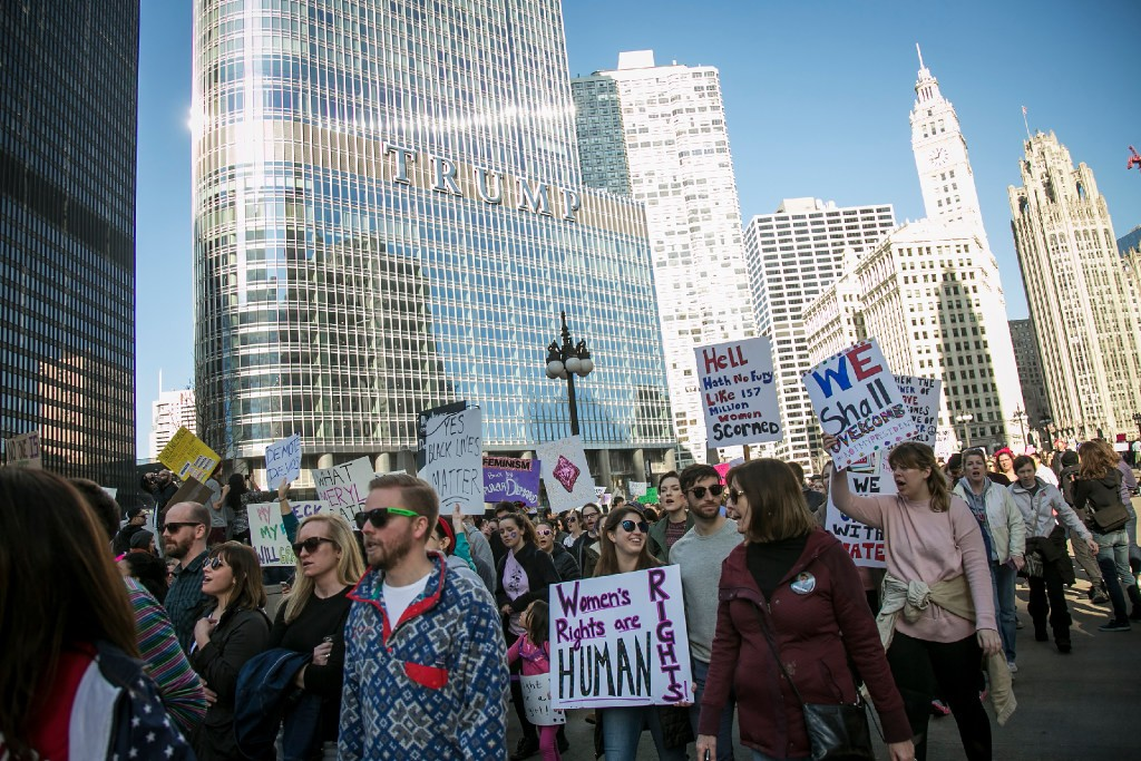 Hundreds of thousands of people protested outside the Trump Tower and in the streets Saturday as part of the Women's March on Chicago.- ASHLEE REZIN  SUN-TIMES