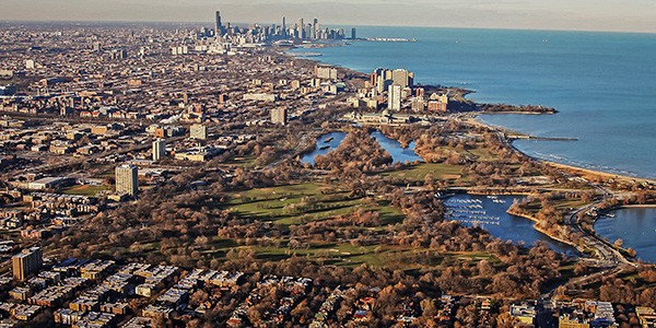 Aerial view of Jackson Park, site of the future Obama Presidential Center - LEE HOGAN/SUN-TIMES