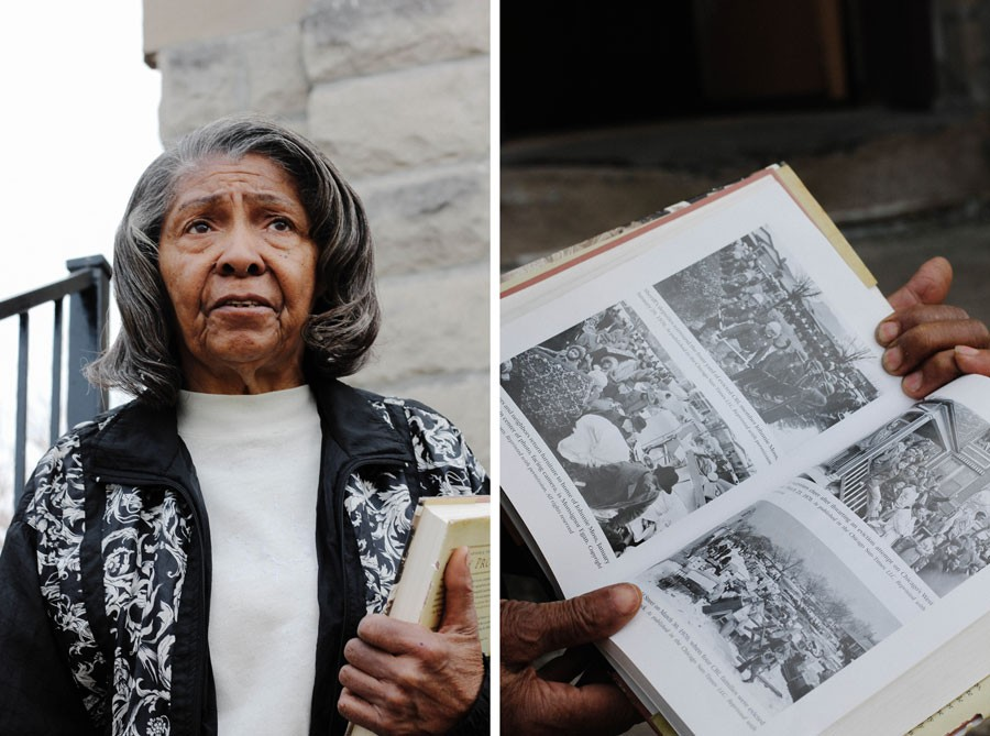 "Ethel Weatherspoon—seen here with a copy of Beryl Satter's 2009 book Family Properties—acquired her North Lawndale home in a contract-for-deed sale in 1957. Knowing she and her husband could lose their house ""ate away at us,"" she says. - ZAKKIYYAH NAJEEBAH"