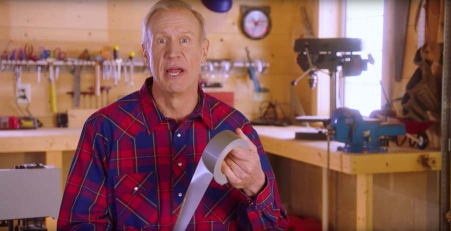 Governor Bruce Rauner released commercials in March accusing state Democrats of cobbling together a budget with duct tape. - STATE SOLUTIONS