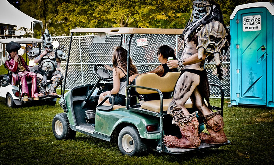 Service Sanitation provided porta-potties for Riot Fest in 2016. Surprisingly, the members of Gwar did not involve this one in their golf-cart demolition derby. - ALISON GREEN