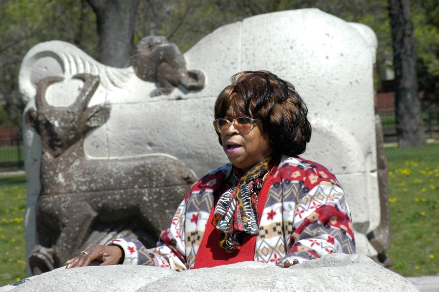 Longtime ABLA leader Deverra Beverly originated the idea of the museum to preserve public housing residents' histories. The animal statues by Edgar Miller are being restored and will be returned to the building's courtyard. - KEITH HALE/SUN-TIMES