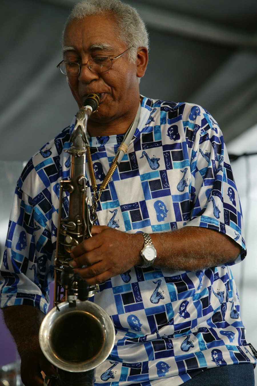 "New Orleans saxophonist Edward ""Kidd"" Jordan makes his traditional festival-time visit, playing three shows this weekend in a quartet with Alvin Fielder, Joshua Abrams, and Jim Baker. - COURTESY THE ARTIST"