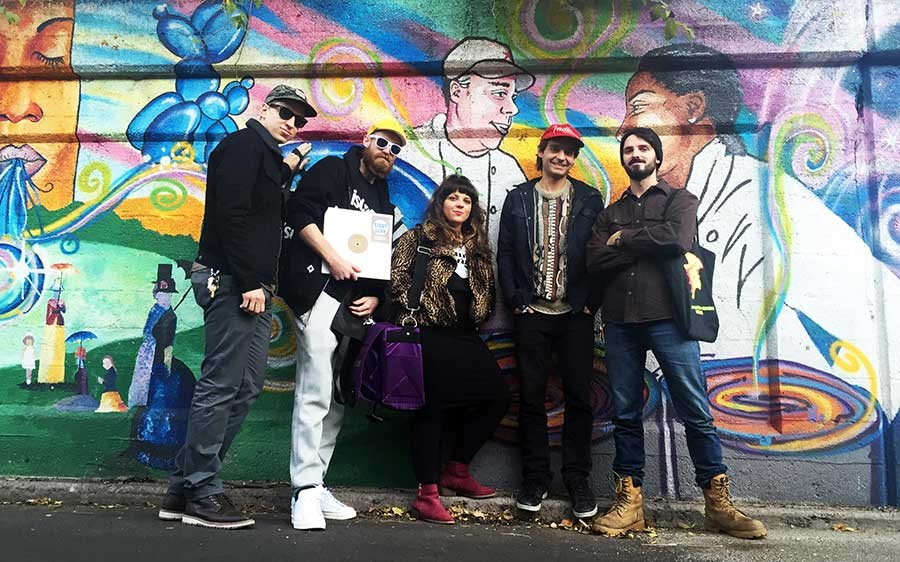 Tim Zawada with Ben Van Dyke and members of the Boogie Munsters crew outside Funk Trunk Records' Rogers Park Music Swap in November 2015. Left to right: Zawada, Shazam Bangles, Constance K, Van Dyke, and Frankie Sharp. - COURTESY OF TIM ZAWADA
