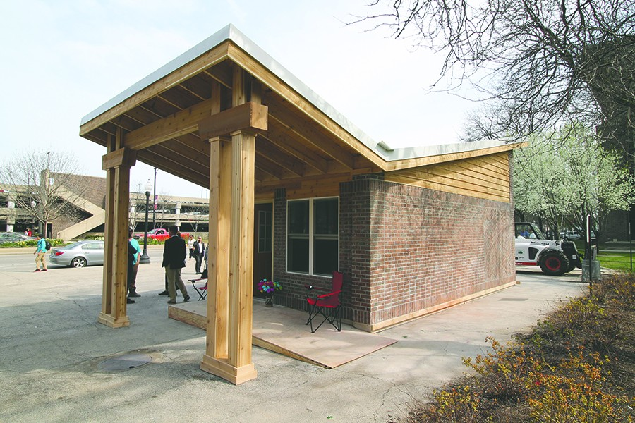 The winning Tiny Homes Competition design was built during a tiny-homes summit on the University of Illinois at Chicago campus in April 2016 and was subsequently moved to Back of the Yards, where it was open for tours until last fall.