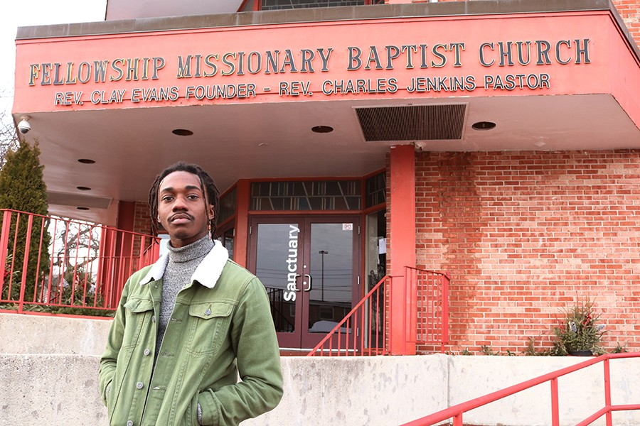 Ric Wilson in front of Fellowship Missionary Baptist, at 45th Place and Princeton Avenue - MORGAN ELISE JOHNSON
