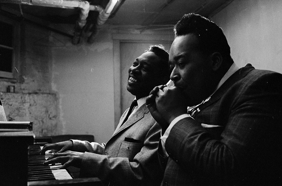 Otis Spann and James Cotton rehearsing in Muddy Waters's basement in Chicago in February 1965 - CHICAGO HISTORY MUSEUM