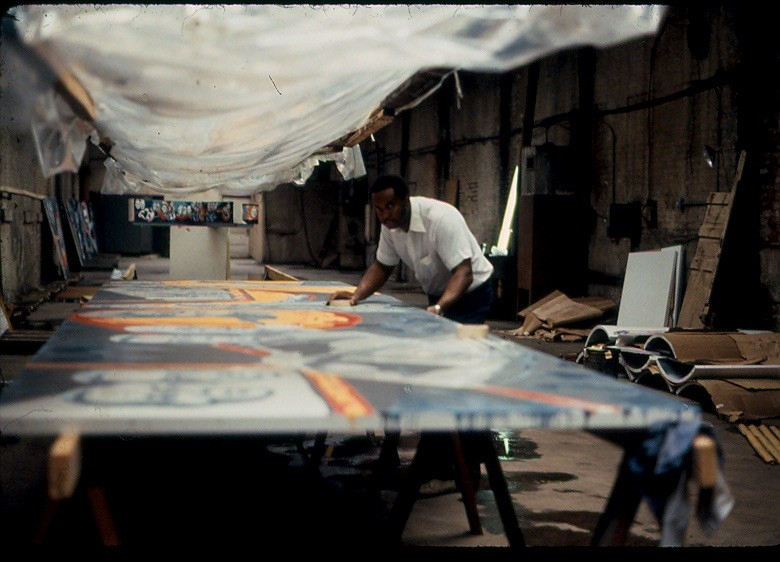 "Eda at work on the mural in 1982 - COURTESY EUGENE ""EDA"" WADE"