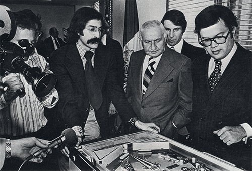 Roger Sharpe demonstrates that pinball is a game of skill to the New York City Council in 1976. - JAMES HAMILTON