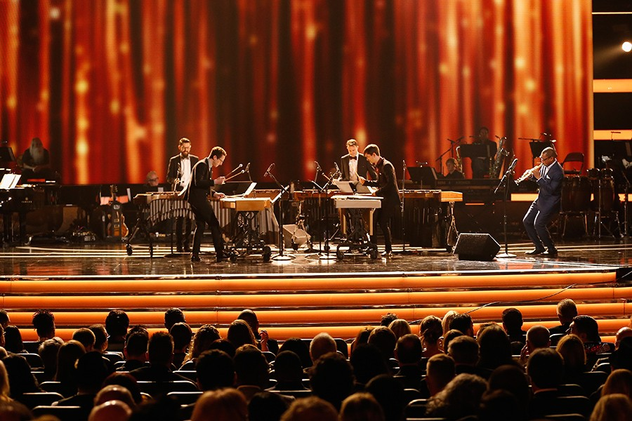 Third Coast Percussion perform the third movement of Steve Reich's Mallet Quartet at the 2017 Grammys with guest saxophonist Ravi Coltrane. - RICH POLK