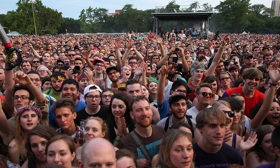 St. Vincent fans at the Pitchfork Music Festival in 2014: so much imminent heat exhaustion in one photo - CHANDLER WEST