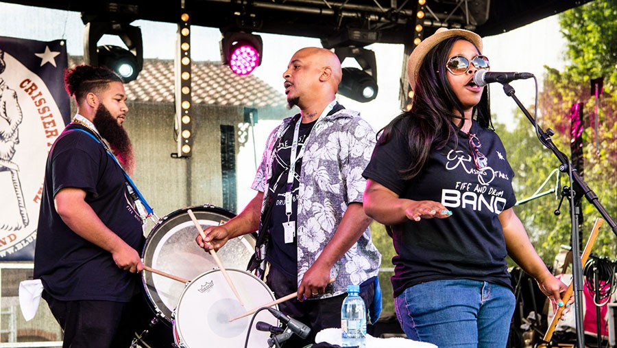Shardé Thomas (right) with the Rising Stars Fife & Drum Band earlier this year at the Blues Rules festival in Crissier, Switzerland - CHRISTOPHE LOSBERGER