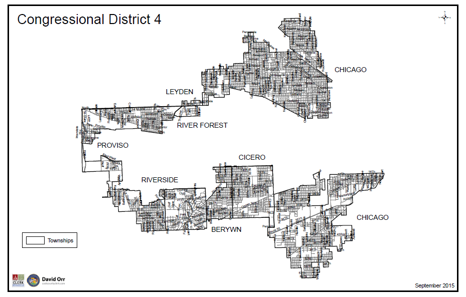 "Map of Illinois's Fourth congressional district, nicknamed ""Earmuffs"" for its irregular shape, the product of gerrymandering. - COURTESY PAUL DAILING"