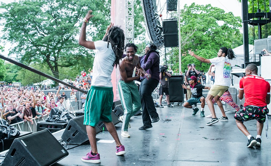 Fellow members of Pivot Gang join Saba for his encore. From left: Squeak Pivot, Saba, Mfn Melo, Frsh Waters, and Daoud. (Not sure who's in the red shirt.) - TIM NAGLE