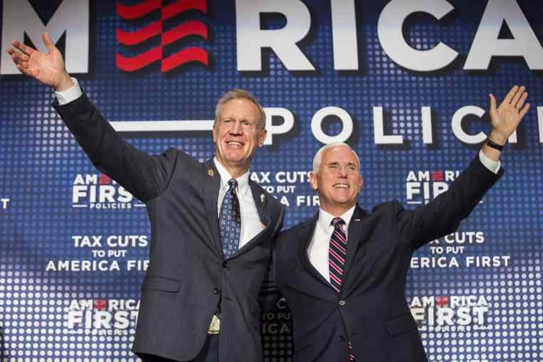 Governor Bruce Rauner introduced vice president Mike Pence at the Westin O'Hare in Rosemont Friday afternoon. - ASHLEE REZIN/SUN-TIMES