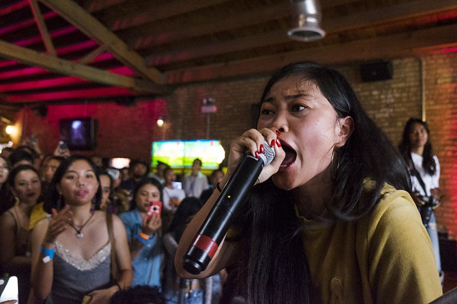 Rapper and spoken-word artist Ruby Ibarra performs. - PAT NABONG