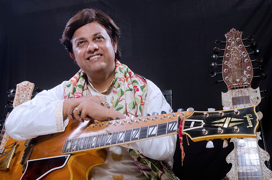Debashish Bhattacharya has devised three different Indian slide guitars. - COURTESY THE ARTIST