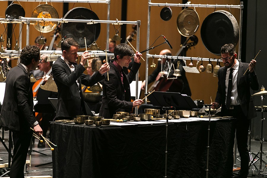 Third Coast Percussion perform their first commissioned concerto, Augusta Read Thomas's Sonorous Earth, at the Harris Theater in November 2017. - ELLIOT MANDEL
