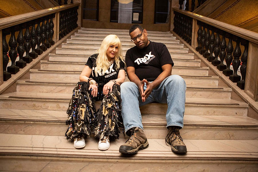 "Trax Records star ""Screamin' Rachael"" Cain, who's run the label since rebooting it in 2007, at the Cultural Center with Marcus ""Mixx"" Shannon - ALEXUS MCLANE"
