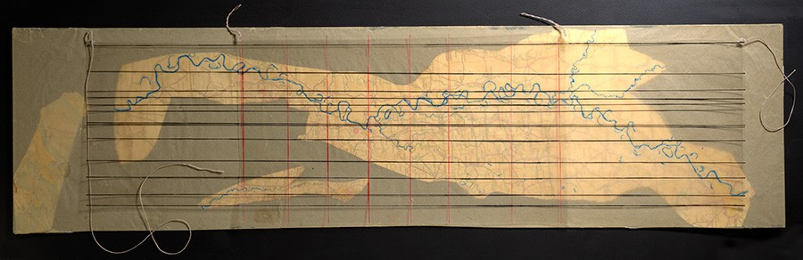 """Philip Corner's 1954 piece Mississippi River South of Memphis, also part of John Cage's Notations project, asks performers to """"read"""" a traced map of the titular river as though it were sheet music. Horizontal lines indicate pitch; vertical lines, time. - PUBLISHED BY PERMISSION OF THE COMPOSER"""
