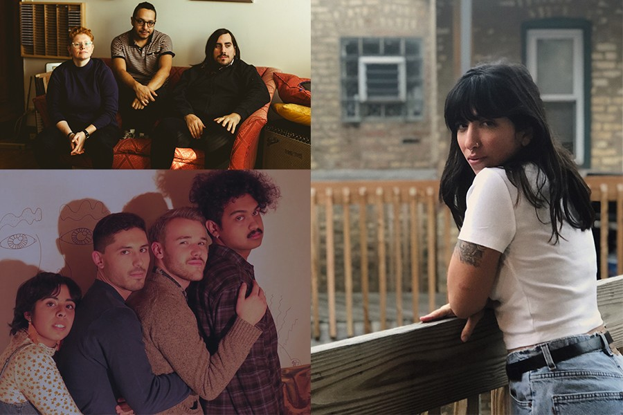 Three of the acts at this year's Demolición: Pkng (upper left) are Sarah Seguine-Hall, Elmer Martinez, and Alexander Adams. Girl K (lower left) are Kathy Patino, Alex Pieczynski, Kevin Sheppard, and Ajay Raghuraman. Tenci (right) is the project of singer-songwriter Jess Shoman. - PHOTOS BY ELMER MARTINEZ, LALY VIVEROS, AND RACHEL LESSING