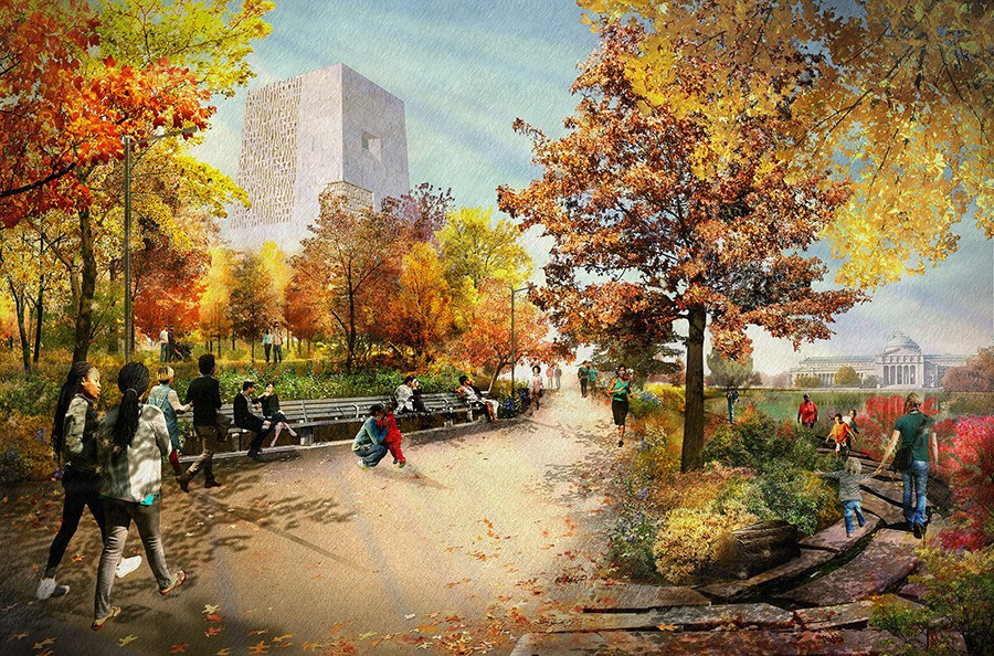 A rendering of the Obama Presidential Center - OBAMA FOUNDATION