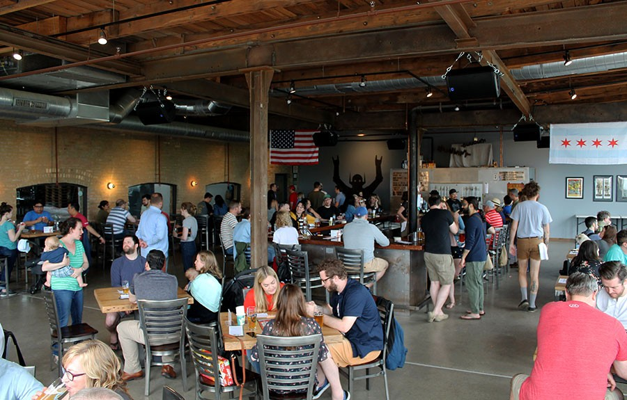 The Metropolitan taproom on a weekend afternoon in June. How many dogs and babies can you spot in this picture? - PHILIP MONTORO