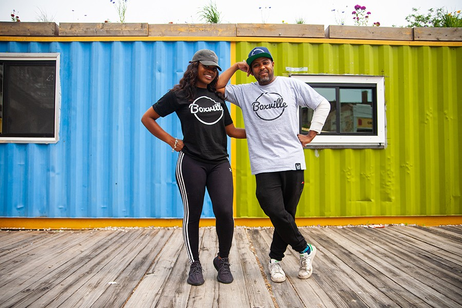 Leaders 1354 mastermind Corey Gilkey with fellow Boxville cofounder Kaaron Johnson at the south-side shipping-container mall, which opened for the season in mid-June - DAVON CLARK