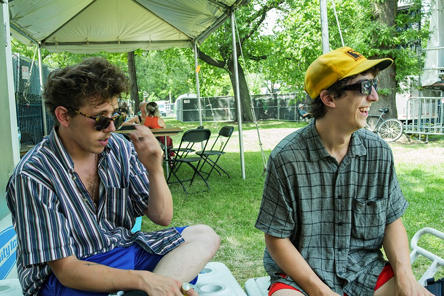 Clay Frankel (Grapetooth) and friend Brett Weinstein hang out before Grapetooth's set. - TIM NAGLE